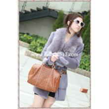 Fah021 OEM venta al por mayor de piel de prendas de vestir de piel de ropa de conejo de piel de visón piel de ropa chaqueta de piel