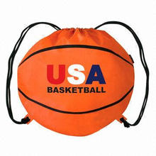 Eco-friendly Nylon 210D Material Portable Promotional Basketball Shape Drawstring Bag