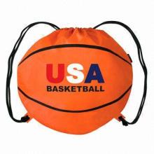 Eco-friendly Nylon 210D Material Portable Promotional Basketball Shape Drawstring Bag