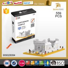 Grécia famoso edifício Parthenon templo 3d puzzle brinquedo bloco de construção