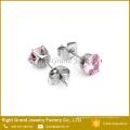 Brincos cor-de-rosa de aço inoxidável da orelha do zircão dos brincos de Shamballa de 5mm 316L