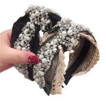 Pearl Rhinestone Wide Headband Luxury Hair Accessories Knot Bow Wedding Bride Hairband Baroque Vintage For Women Girls Gift