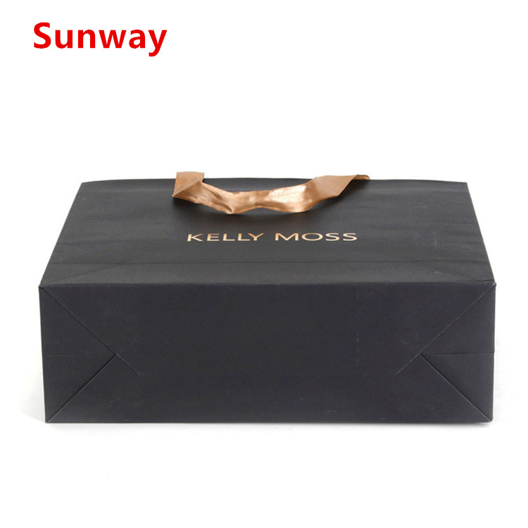 High end black shopping bags