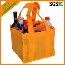 Saco não tecido relativo à promoção recicl da embalagem da garrafa de vinho de 9 blocos