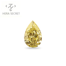ForeverFlame  fancy yellow 5ct Pear Cut diamond CVD CZ color Moissanite