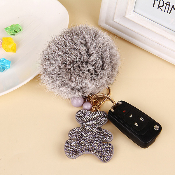 South Korea Velvet Bear Fur Pom Keychain