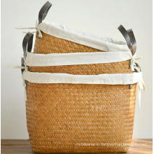 (BC-ST1075) Good Quality Pure Manual Natural Straw Laundry Basket