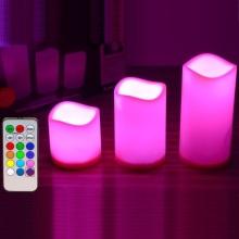 Vela de color de cera de parafina LED