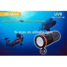 Diving flashlight run in 8PCS CR123A or 4pcs 18650 li-ion battery 5000lm diving photography light