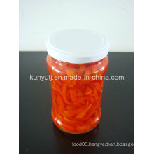 Sweet Red Pepper Slices in Glass Jar