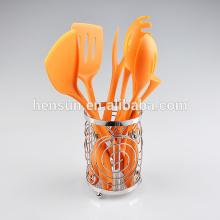 7 pcs orange handle nylon utensils