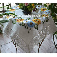Sunflower Cotton Lace Border Embroidery Tablecloth St1778