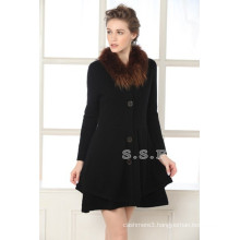 factory price luxury and slim fit women 100% pure cashmere long coats
