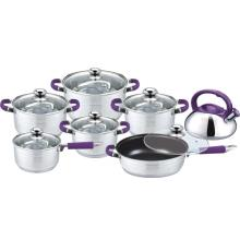 13pcs stainless steel cookware  with clear