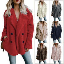 2019 autumn and winter hot style double-breasted woollen sweater loose fur coat lapels