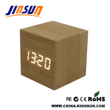 Square Model Desk Wooded Led Alarm Clock