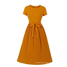 Women Fashion Ladies Big Size Pleated Dress with Butterfly Tie