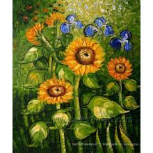 Décoration intérieure Peinture à l'huile de tournesol en toile murale (FL1-109)