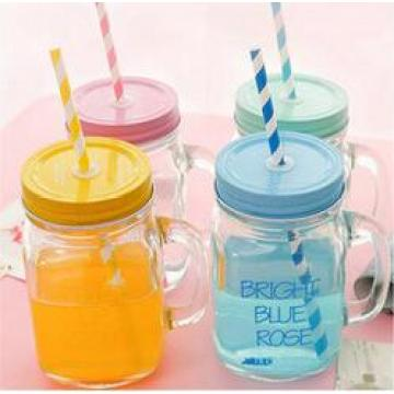 Factory Supply High Flint Decal Custom Logo Glass Mason Jar for Beverage with Beautiful Metal Lid and Straw Wholesale