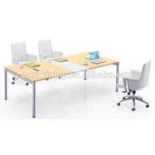 Дизайн столов для офиса МДФ + Меламиновая отделка с персиковой древесиной + теплая белая обивка (JO-4050)