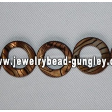 golden donut shape freshwater shell beads
