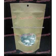 Saco de papel kraft cor natural sem impressão com ziplok e janela 250gram