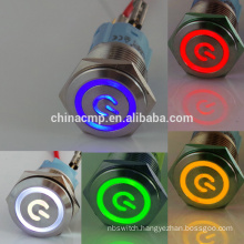 Zhejiang CMP 12v led metal anti-vandal waterproof latching&momentary push button switch,stainless steel IP67