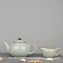 Jogo de chá cerâmico vitrificado da cor