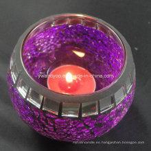Candelero de vidrio decorativo de mosaico
