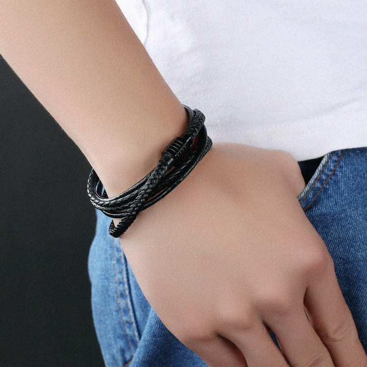 Woven Leather Stainless Steel Magnetic Clasp Bracelet