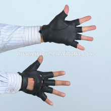 2015 High Quality Fashion Hollow Out Top Sheep Leaher Car Driving Men Fingerless Gloves (Factory Directly Sale)