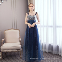 2019 Spring New Navy Blue Spaghetti Straps Evening Gowns Sequined Tulle Long Evening Party Dresses