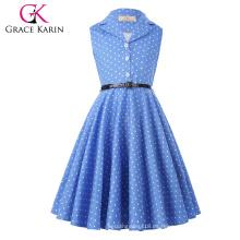 Grace Karin vestidos de niña de los niños de verano niños niñas retro de la vendimia sin mangas solapa collares vestido de puntos CL009000-4