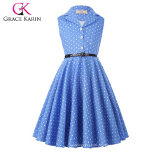 Grace Karin Flower Girl Vestidos Summer Children Kids Girls Retro Vintage sem mangas Lapel Collar Polka Dots Dress CL009000-4