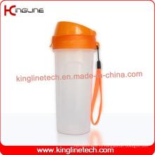 500 мл пластиковая бутылка для протеинов с фильтром и ремешком (KL-7039)