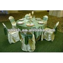 tampa da cadeira elegante de cetim, faixa de cetim e toalha de mesa para banquete/hotel/casamento