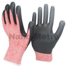 NMSAFETY ventas calientes PU anti-corte nivel 5 guantes de mano seguros