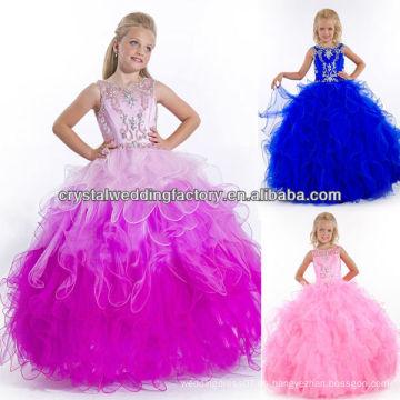 2014 nuevo vestido de bola con falda rebordeada con lentejuelas de la falda vestido azul real del desfile de las niñas CWFaf5768