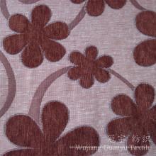 Tissu de chenille teint par fil de polyester de motif de fleur de Jacquard 100%