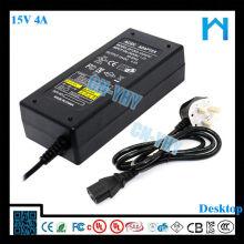 15v 4A ac dc adapter 230vac input 60W UL CE FCC GS SAA KC