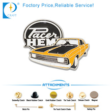 Custom Car Shape Nickle Plated Pin Badges in Ancient Style with Yellow