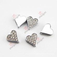 Cristales limpios encantos de corredera de corazón para la pulsera (JP08)