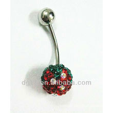 stainless steel navel piercing crystal belly button ring