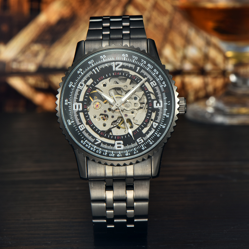 Black relogio stainless steel 3ATM watches men