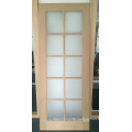 Interior oak veneered wood french door with forest glass