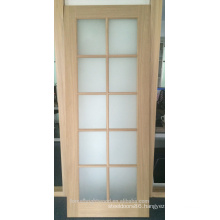 Interior oak veneered wood french door with forest glass