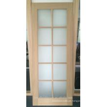 Carvalho interior folheado a madeira portas francesas com vidro de floresta