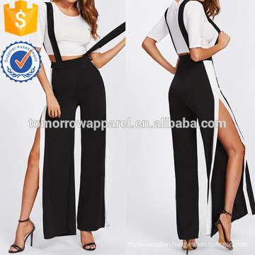 Crop Tee With Side Split Jumpsuit Manufacture Wholesale Fashion Women Apparel (TA4079SS)