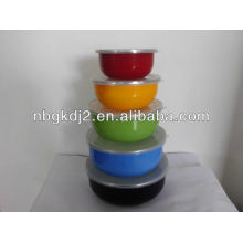 5pcs enamel mixing bowl set with PP lid