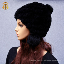 Mulheres Lã Real Rex Inverno CC Beanie Knit Rabbit Fur Hat